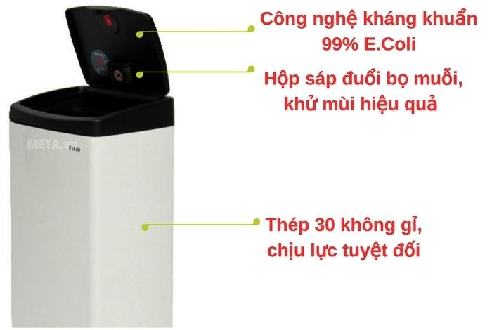 Thùng rác Inox nhấn vuông Fitis STL1-904 - 22L thân thiện người dùng