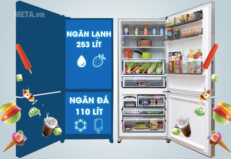Tủ lạnh có dung tích lớn đựng được nhiều thực phẩm