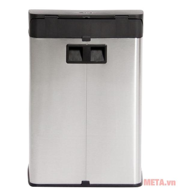 Thùng rác inox đạp vuông nhỏ Fitis SPS1-901 có màu bạc sang trọng