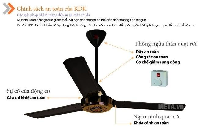 Quạt trần KDK N56YG (3 cánh - 5 tốc độ) thiết kế an toàn thân thiện cho người dùng
