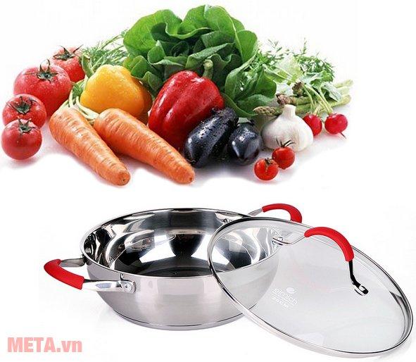 Nồi lẩu đáy từ Elmich 2355789 được làm bằng chất liệu inox cao cấp giúp đảm bảo chất dinh dưỡng cho thức ăn
