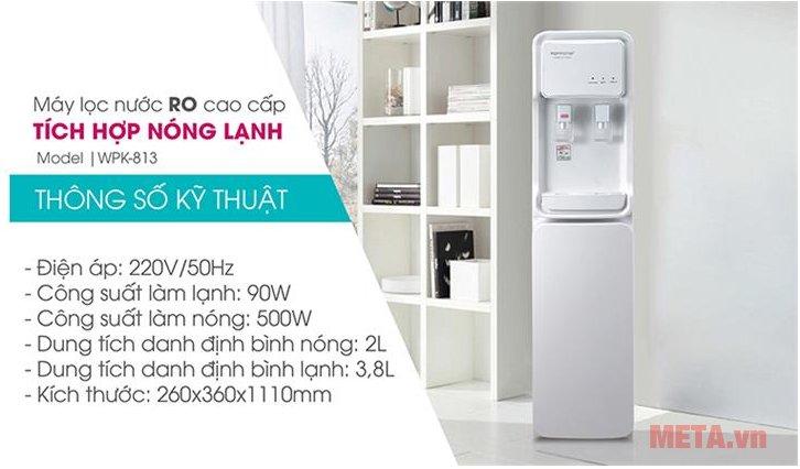 Máy lọc nước RO có tích hợp nóng lạnh Korihome WPK-813 giúp làm nóng lạnh nước hiệu quả