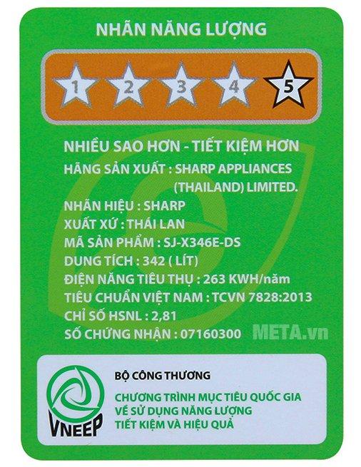 Tủ lạnh Sharp inverter SJ-X346E-DS được cấp 5 hiệu suất năng lượng