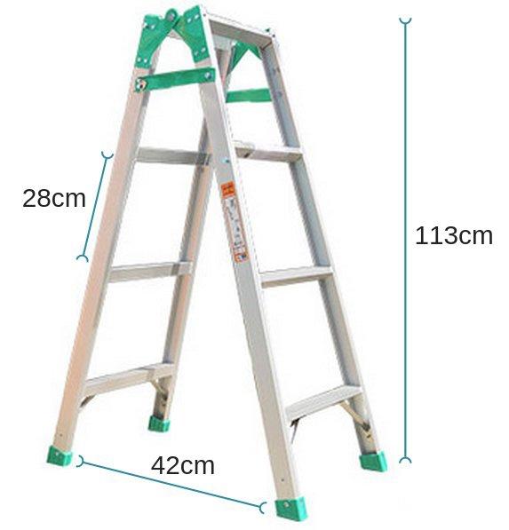 Kích thước khi sử dụng thang nhôm gấp Nikawa NKY-4C dạng chữ A