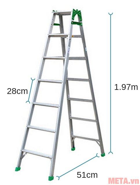 Kích thước khi sử dụng thang nhôm gấp Nikawa NKY-7C ở dạng chữ A