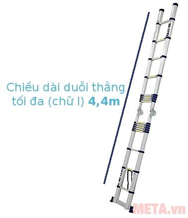 Thang nhôm rút gọn Nikawa NK-44AI duỗi thẳng gấp gọn có khóa chắc chắn