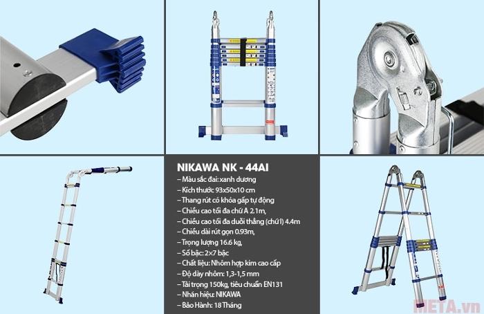 Thang nhôm rút gọn Nikawa NK-44AI có thể khóa gấp tự động