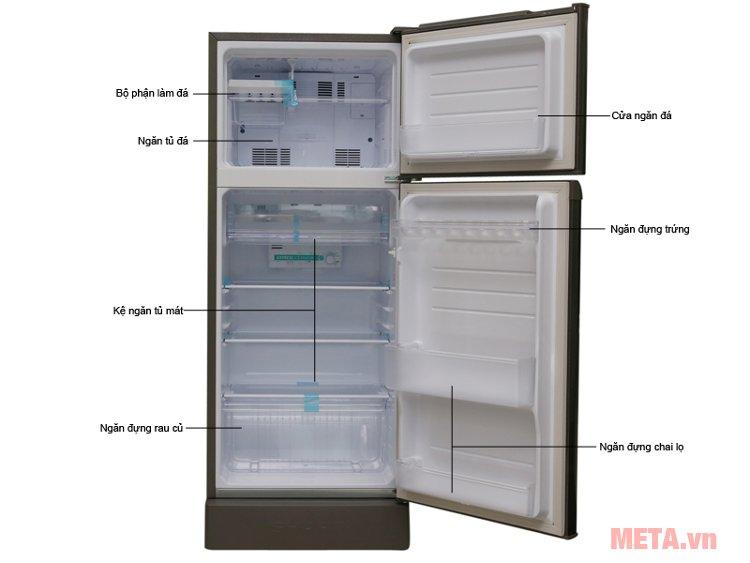 Cấu tạo tủ lạnh Sharp SJ-198P-SSA