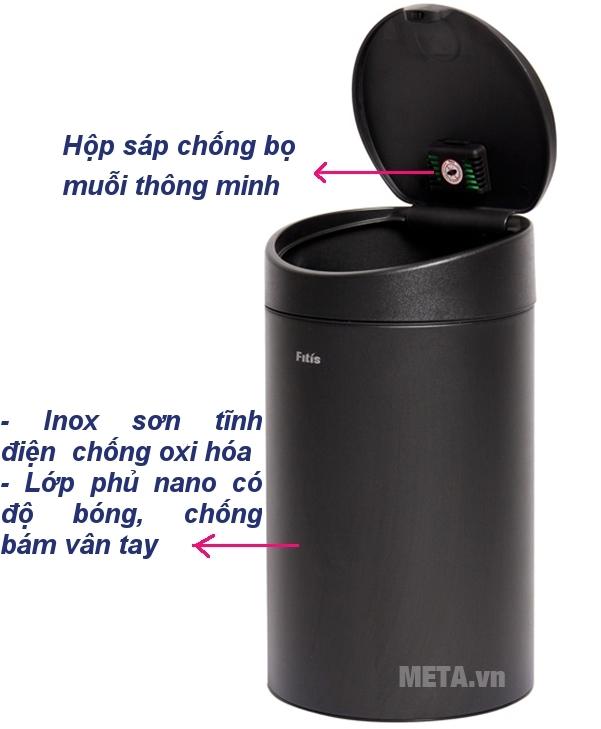 Tính năng nổi bật của thùng rác Inox nhấn tròn nhỏ Fitis RTS1-903