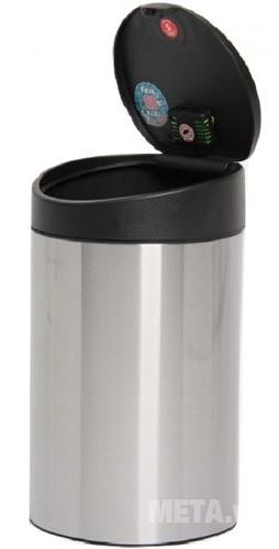 Thùng rác Inox nhấn tròn nhỏ Fitis RTS1-901 size nhỏ phù hợp cho văn phòng, nhà khách