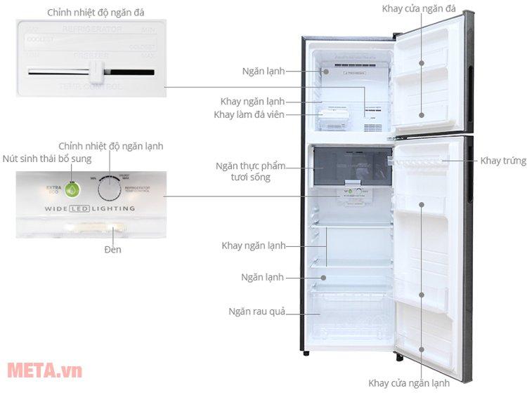 Cấu tạo của tủ lạnh Sharp J-TECH INVERTER SJ-X251E-DS