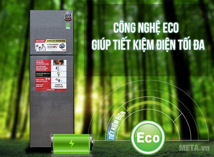 Chế độ etra eco của tủ lạnh gia đình J-TECH INVERTER SJ-X251E-DS giúp tiết kiệm 46% điện năng