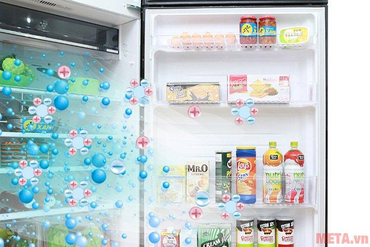 Các phân tử nano bạc đồng sẽ giúp lọc sạch mùi hôi, vi khuẩn bên trong tủ