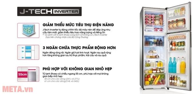 Tủ lạnh Sharp J-tech SJ-X251E-DS với nhiều tính năng vượt trội hơn