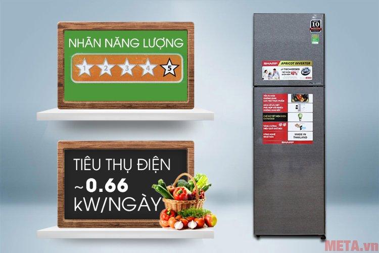 Tủ lạnh Sharp J-tech Inverter SJ-X281E-DS tiết kiệm năng lượng cho gia đình bạn