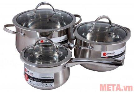 Bộ 3 nồi inox Elmich Ibiza 2350124 có 1 quánh dùng để nấu cháo hay nấu bột cho bé