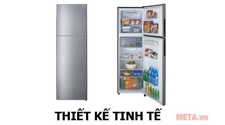 Tủ lạnh gia dụng Sharp J-TECH INVERTER SJ-X281E-SL có thiết tế tinh tế với màu bạc ánh kim
