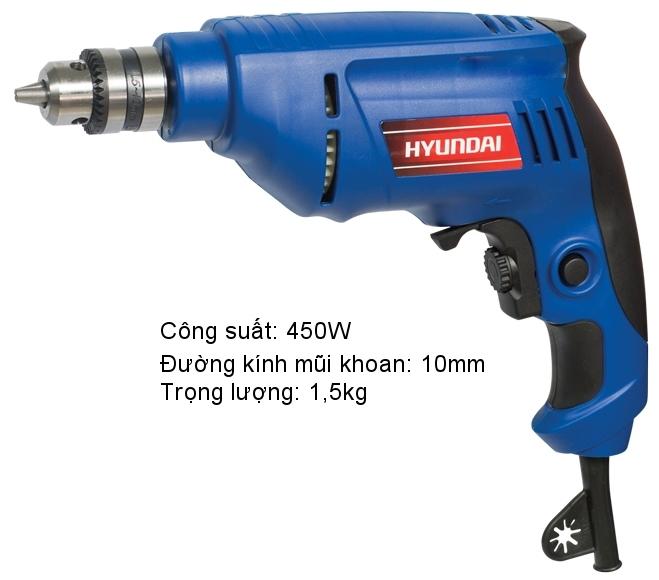 Máy khoan điện 10mm Hyundai HKD101 thiết kế nhỏ gọn, công suất mạnh mẽ