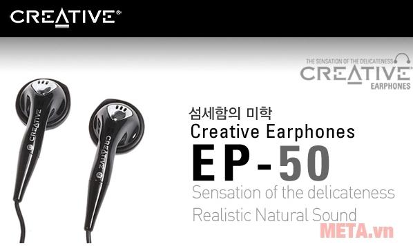Tai nghe Creative EP-50 có thiết kế màu đen sang trọng, tinh tế