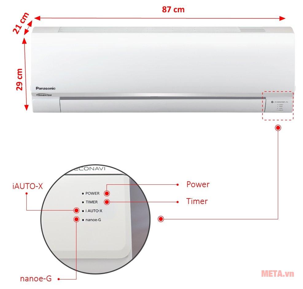 Kích thước điều hòa treo tường Panasonic CU/CS-PU9TKH-8