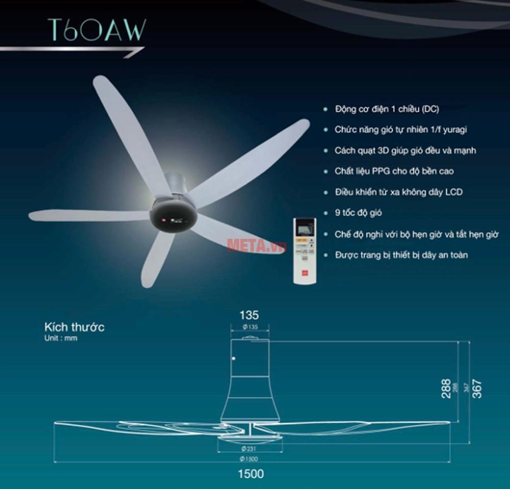 Quạt trần KDK T60AW có khóa an toàn và công tác an toàn