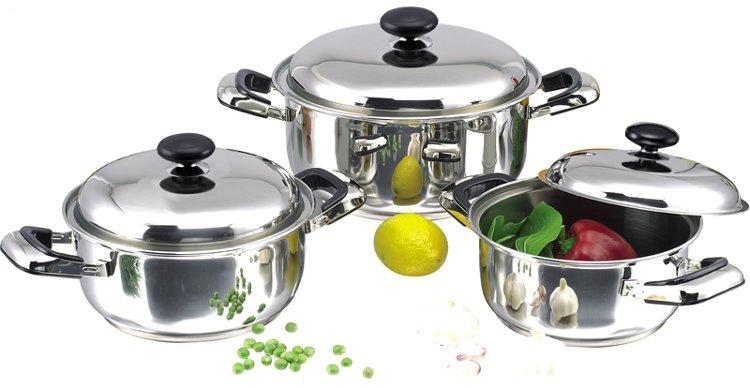 Bộ nồi inox 1 đáy quai đệm SH365 dùng được trên bếp gas, bếp hồng ngoại, bếp than