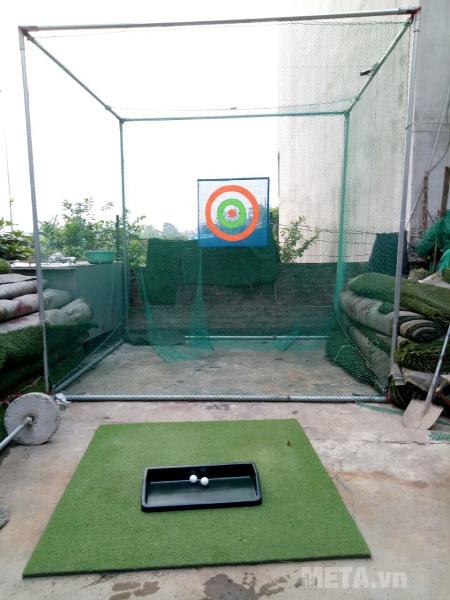 Hình ảnh minh họa khung tập golf khi sử dung lưới golf chuyên nghiệp Hàn Quốc