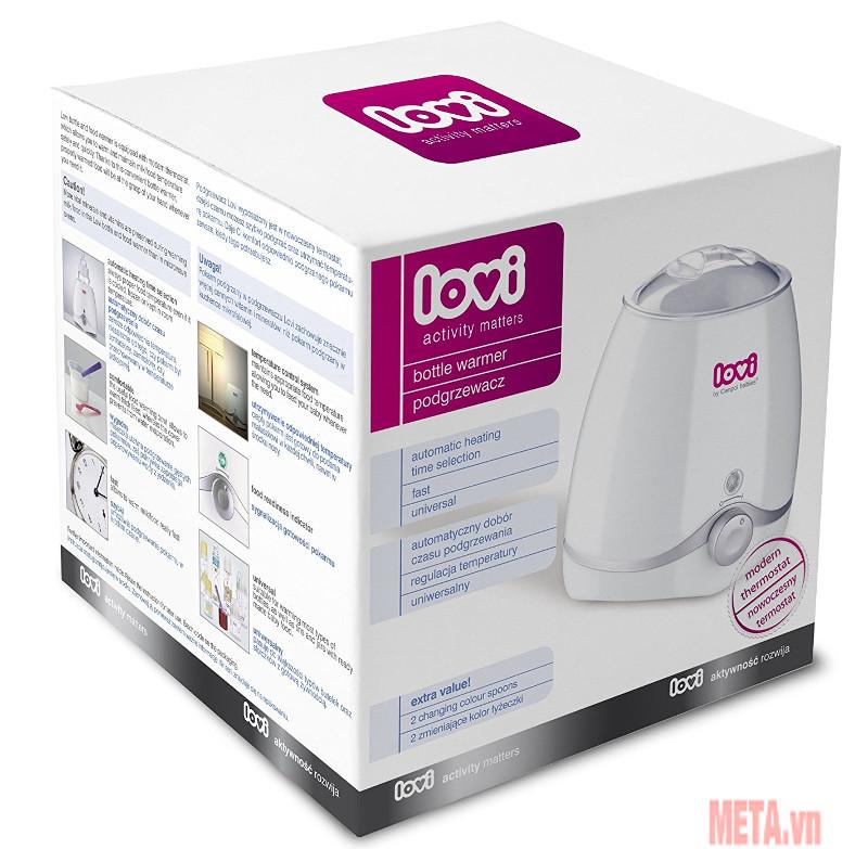 Một bộ sản phẩm bao gồm bát hâm nóng thức ăn, máy hâm sữa và thìa đổi màu cho bé