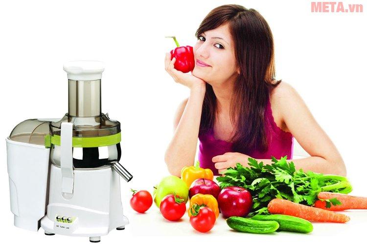 Máy ép trái cây đa năng Kuvings NJM-9010GR ép được nguyên trái mà không cần cắt nhỏ