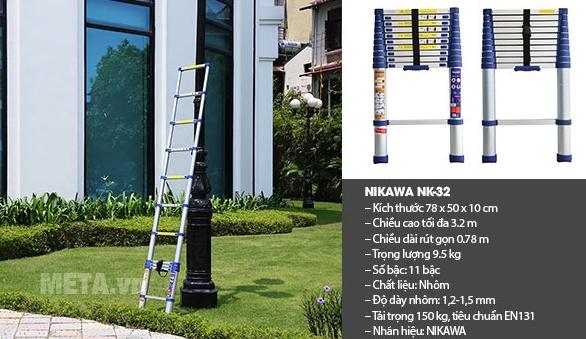 Thông số của thang nhôm rút Nikawa NK-32