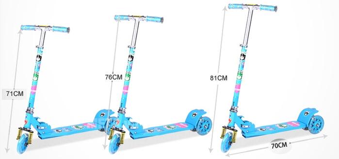 Xe trượt Scooter 380 có thể điều chỉnh phù hợp với chiều cao của các bé