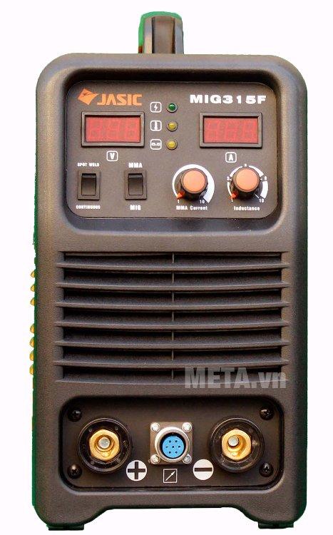 Máy hàn bán tự động Jasic MIG-315F có màn hình led hiển thị dòng hàn và điện áp ra