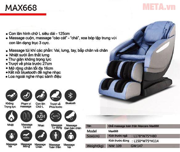 Ghế massage toàn thân Maxcare Max 668