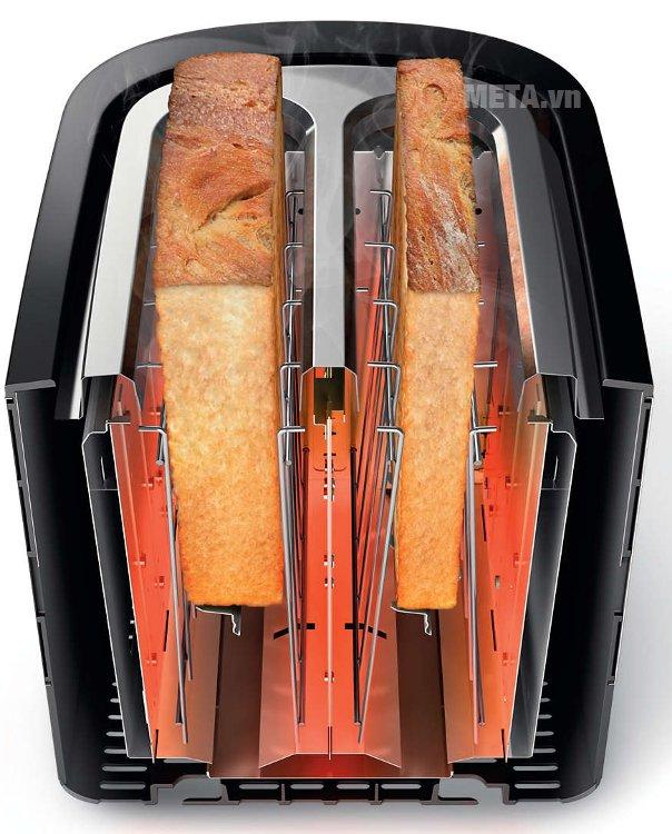 Máy nướng bánh mì Sandwich Philips HD2637 có 2 khe nướng rộng