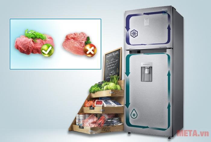 Với dàn lạnh kép thực phẩm tại ngăn mát sẽ không gây ảnh hưởng mùi tới ngăn đông