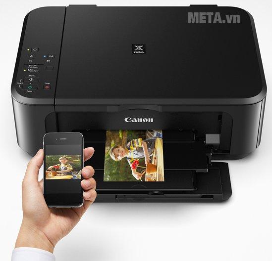 Máy in phun màu đa chức năng Pixma MG3670 kết nối không dây với điện thoại dễ dàng