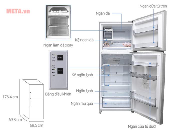 Chi tiết thiết kế tủ lạnh Panasonic NR-BD468VSVN