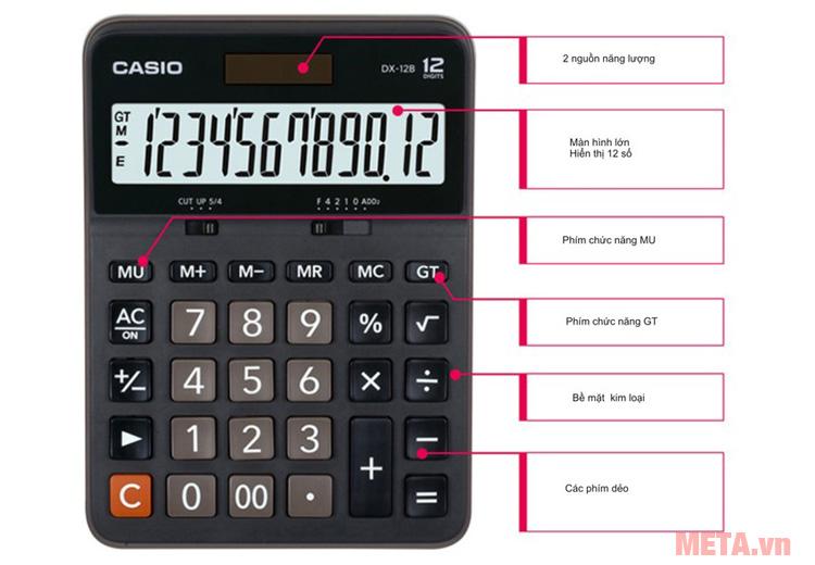 cấu tạo của máy tính bỏ túi Casio DX-12B