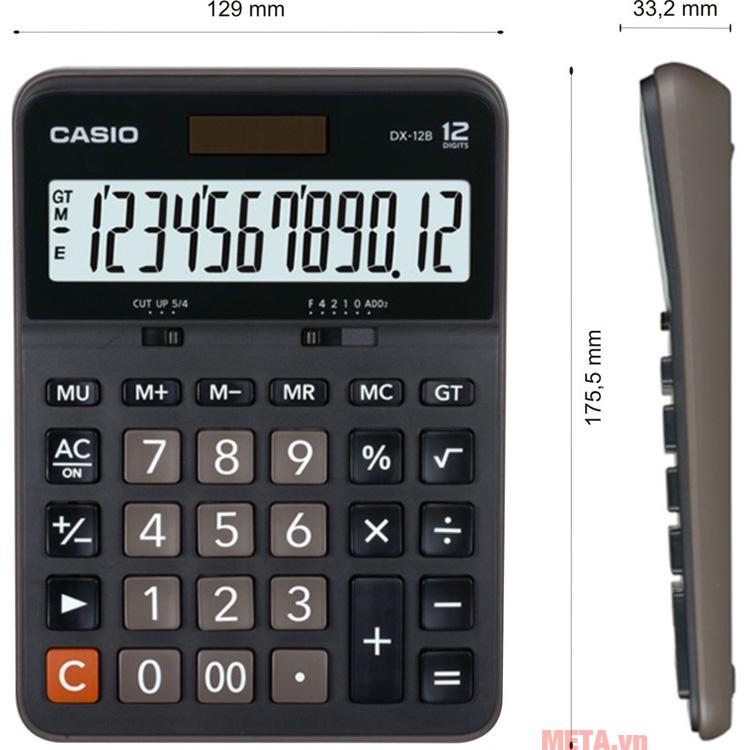 Kích thước của máy tính bỏ túi Casio DX-12B