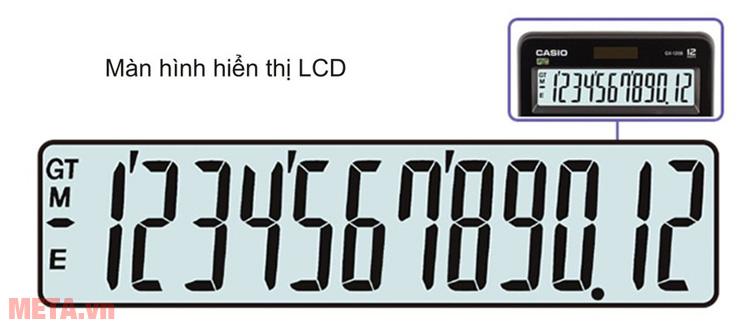 Máy tính bỏ túi Casio DX-12B có màn hình hiển thị rõ ràng