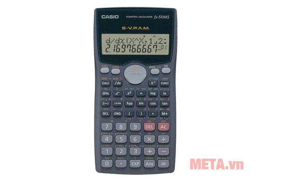 Máy tính bỏ túi Casio FX-570MS có thiết kế nhỏ gọn dễ dàng bỏ túi