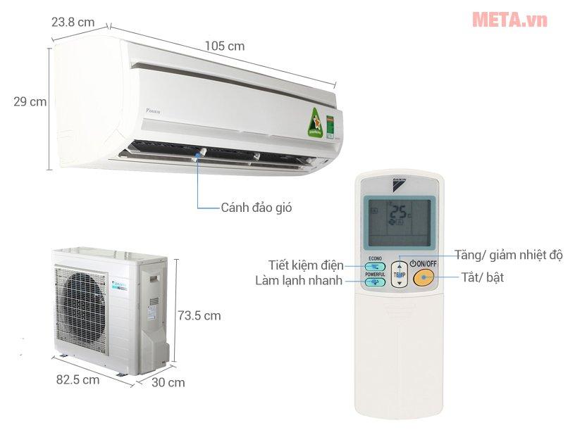 Cấu tạo điều hòa 2 chiều Daikin Inverter 18.000 BTU FTXS50GVMV/RXS50GVMV