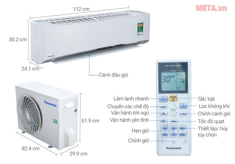 Cấu tạo điều hòa Panasonic 1 chiều Inverter 18.000 BTU CU/CS-U18TKH-8