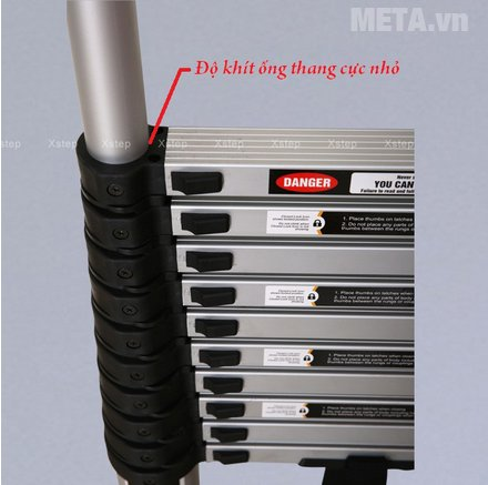 Thang nhôm rút Xstep XT-380C có đường ống lớn nhất 83mm, ống nhỏ nhất 37mm.