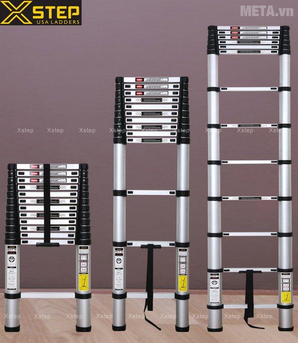 Thang nhôm rút Xstep XT-380C có dây đai có định các bậc thang chắc chắn, tiện cho việc di chuyển