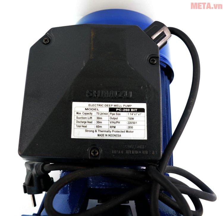 Thông số của máy bơm hút giếng Shimizu PC 260
