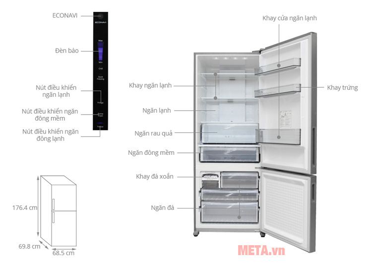 Tủ lạnh Panasonic Econavi NR-BX468GKVN có bảng điều khiển cảm ứng thông minh