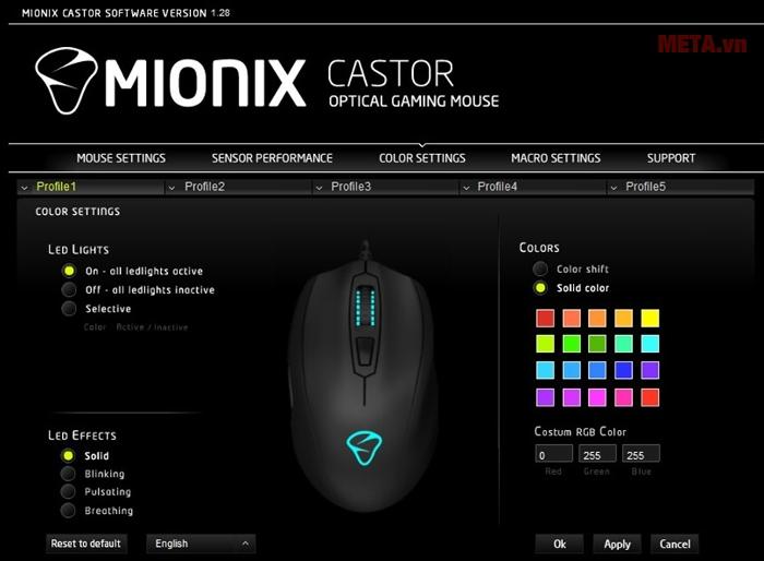 Tab thiết lập màu sắc cho đèn led ở scroll mouse và logo trong bảng màu có 16 triệu màu