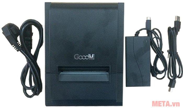 Máy in hóa đơn GoodM TC-8250 có dây nguồn, dây kết nối với máy tính tiền và dây cổng USB