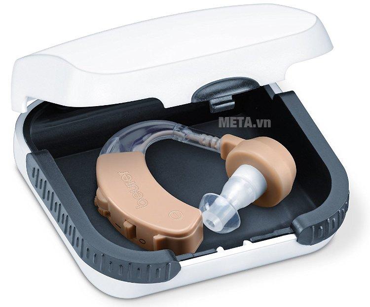 Máy trợ thính Beurer HA20 có hộp nhựa bên trong bảo quản máy không bị trầy xước